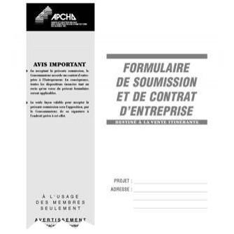 Formulaire de soumission et de contrat d 39 entreprise vente for Contrat de conception construction
